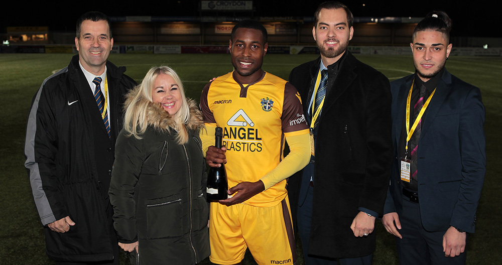 ASG staff with Sutton's Man of the Match, Dale Bennett, following the home league fixture versus Chesterfield (Season 2018/19)